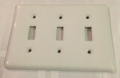 Amertac White Porcelain 3-Gang Toggle Light Switch Ceramic Wall Plate Cover