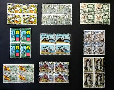 9 BLOCKS OF FOUR from SPAIN Stamps coll.  lot * USED/NG/NH * MILITARY, EUROPA ++