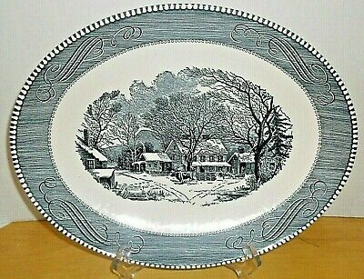 "Vintage Royal China Currier And Ives 13"" Oval Platter Old Inn Winter Blue White"