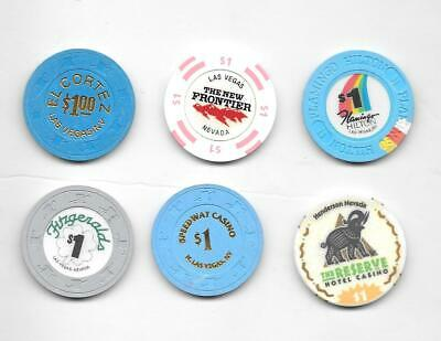 Lot (6) Different $1 House Las Vegas Casino Chips From Closed Casinos All ~SU+