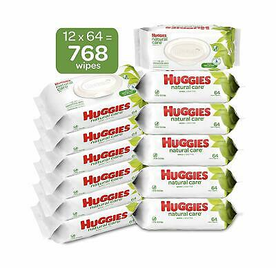 HUGGIES Natural Care Unscented Baby Wipes, Sensitive, Water-Based,