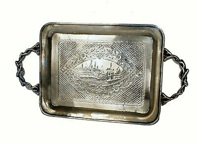 "1866 Russian Imperial 84"" Silver Tray Salver With Engraved Image Of Moscow"