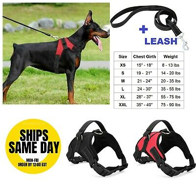 No Pull Dog Pet Vest Harness Adjustable Quality Nylon and LEASH SET XS S M L XL