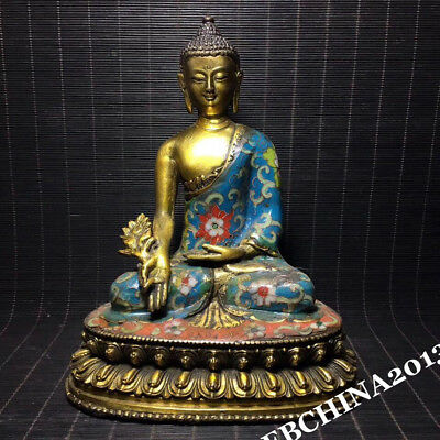 "8.2"" Collect Old China Bronze Cloisonne Enamel Sakyamuni Buddha Statue Sculpture"