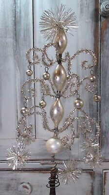 Antique Victorian Silver Mercury Glass Tinsel Pom Pom German Feather Tree Topper