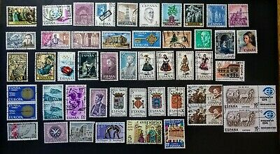 (rp134) 50 SPAIN Stamps Coll lot * USED/NEVER HINGED LINE PAIRS * 3c ea. START