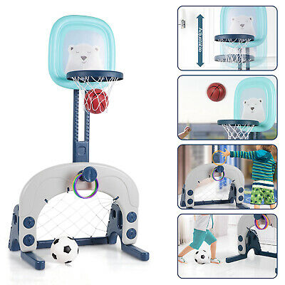 Kids Basketball Hoop Set 3-in-1 Sports Football Soccer Ring Toss Adjustable Gift