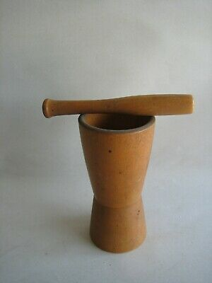 Vintage Wood Mortar & Pestle Hour Glass Shaped Apothecary Pharmacy Rx