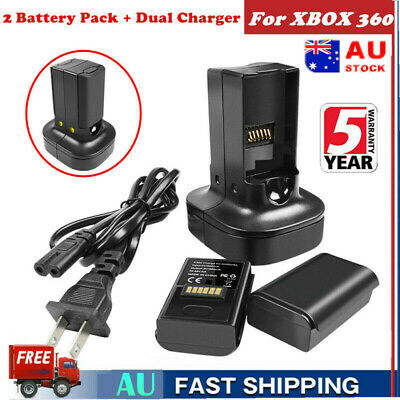 2X 2200mAh Rechargeable Pack Battery + Charger For XBOX 360 Wireless Controller