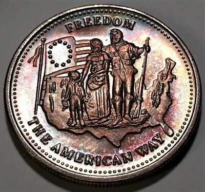"""Toned 1986 Johnson Matthey """"Freedom the American Way"""" 1 Ounce .999  Silver Art"""