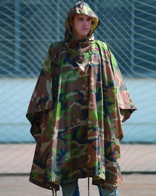 Poncho Impermeable Rip-Stop Camuflaje Militar, Ejercito, Caza, Pesca, Outdoor