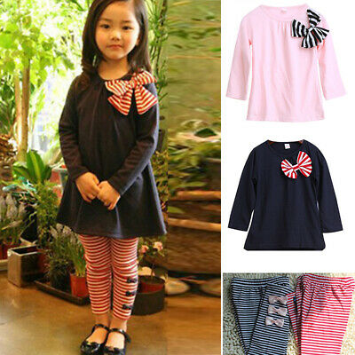 Kids Baby Girls Autumn Fall Outfits Clothes T-shirt Tops+ Leggings Pants 2PCS #