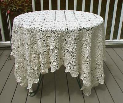 Tablecloth Vintage Hand Crocheted White Lace Rectangular