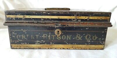 ANTIQUE ROBERT RITSON & Co CASH TIN BY C.CHUBB & SON