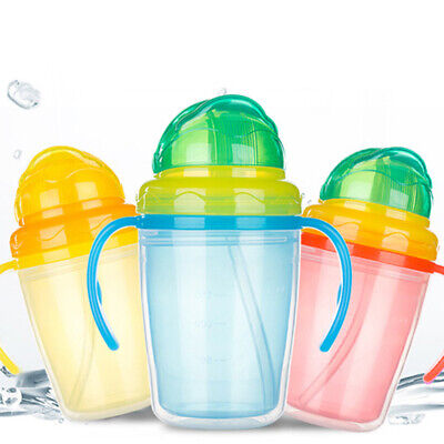 Baby Double Handles Trainer Anti Spill Straw Cup For Children Feeding Drinking
