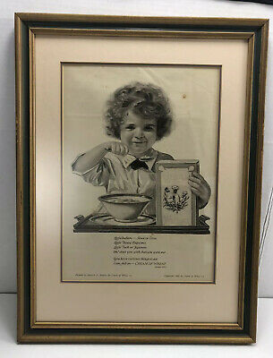 1920 Cream Of Wheat Matted & Framed I Am Fed On Cream Of Wheat