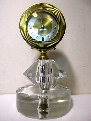 Rare Antique Vintage Seth Thomas Brass Crystal Desk Alarm Clock Made In Germany