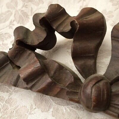 Antique FRENCH ARCHITECTURAL SALVAGE Carved WOODEN PEDIMENT RIBBON BOW SHAPE