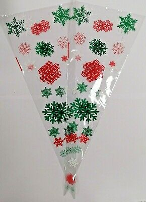 Christmas Winter Party Cone Cello Bags w/Ties - Kid Candy Party Gift Sweet Treat