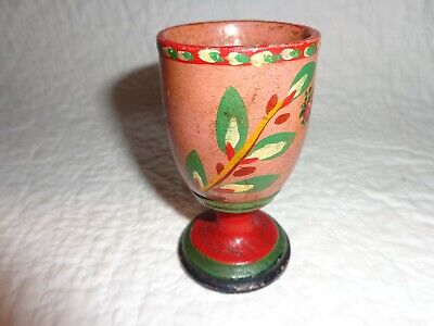 Rare Authentic Antique Primitive 19th.c Lehnware Painted Wood Egg Cup, Folk Art