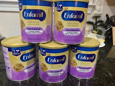 Lot Of 5 Enfamil Gentlease 12.4 Oz Infant Baby Powder Formula Exp Feb 2021