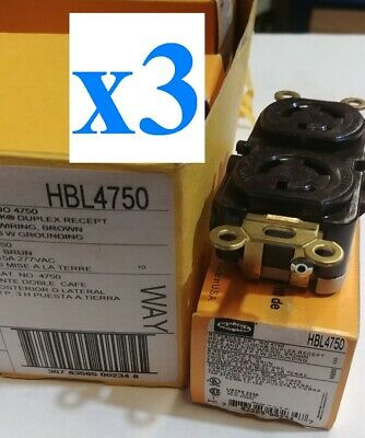 x3 NEW Hubbell HBL4750 15A 277V AC, 2-Pole 3-Wire Grounding, NEMA L7-15R