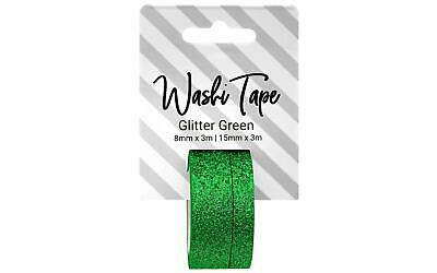 334795 Washi Tape 8 15Mm X 3M Glitter Green