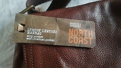 Mens Brown Leather Manbag From Marks And Spencer Brand New