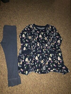 Next Girls Age 3-4 Years Christmas Dress And Leggins Set Worn Once Only