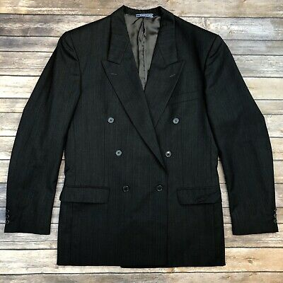 Yves Saint Laurent Gray Pinstriped Wool Double Breasted Vintage Blazer Jacket 40