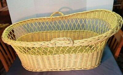Vintage large wicker / rattan yellow baby bassinet
