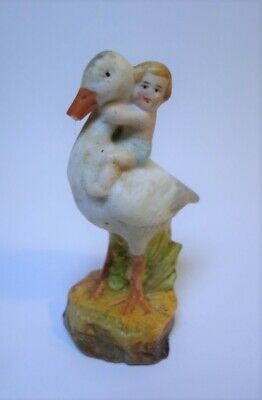 "Antique BISQUE PORCELAIN BABY RIDING STORK FIGURINE Hand Painted German 2.25"" T"