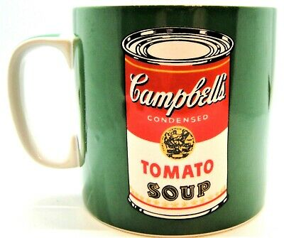 Andy Warhol Campbell's Tomato Soup Can Coffee Mug, Art by Block, signed, Green