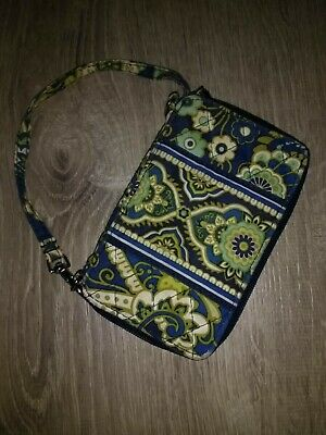 Vera Bradley Rhythm And Blues Zip Around Wallet With Strap, Used But Beautiful.