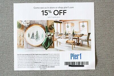 Pier 1 Imports 15% OFF ENTIRE PURCHASE In Store or Online - Expires 12/31/2019