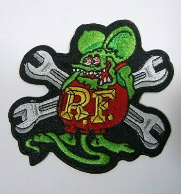 """RAT FINK W/ WRENCHES R.F. Iconic Embroidered Iron-On Patch - 3.5"""""""
