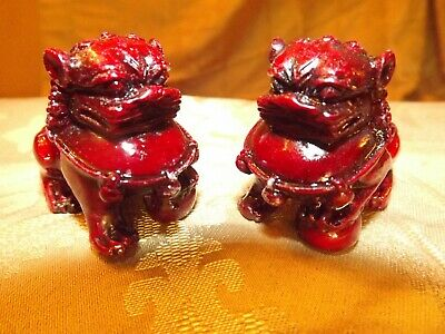 PAIR Chinese Imperial Guardian Lions Shishi Stone Lions Foo Dogs Cinnabar Resin