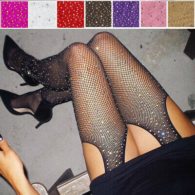 Women's Glitter Fishnet Tights Open Crotch Mesh Pantyhose Ladies Tights Stocking