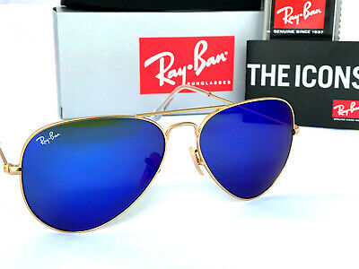 Ray-Ban Aviator Blue Mirror Lens Gold Frame Sunglasses Unisex Rb 3025 58Mm