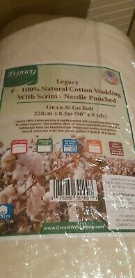 Legacy F100% Natural Cotton Wadding 228 cm X 8.2 Metres PATCHWORK QUILT - NEW