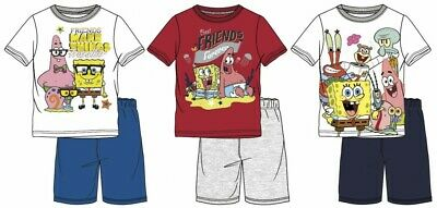 Boys Kids Spongebob Short Sleeve Pyjamas Pjs T-Shirt Shorts set Age 3 -12 Years