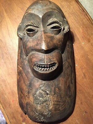 """Hand Carved Wooden African Mask Wall Art 17"""""""