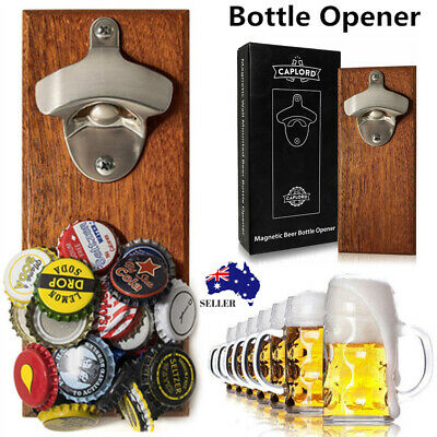 Wall Mounted Beer Bottle Opener with Magnetic Cap Catcher Wooden Refrigerator