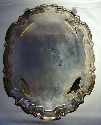 Vintage Leonard Silver Plate Footed Engraved Baroque Rectangular Tray