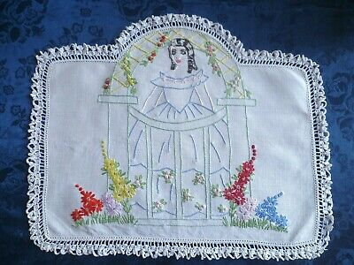 Vintage Hand Embroidered Pretty Lady Doiley With White Hand Crocheted  Edge