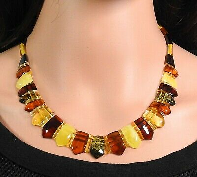 Amber Necklace Colourful Multicolour Natural Jewelry Made from Handmade