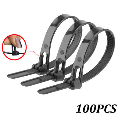 US 100Pcs Releasable Reusable Cable Ties Nylon Zip Tie Wraps Strong Cord Winder✿