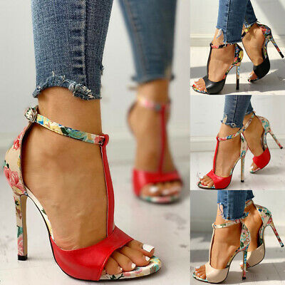 Womens Ladies High Stiletto Heels Ladies Peep Toe Ankle T-Strap Party Shoes Size
