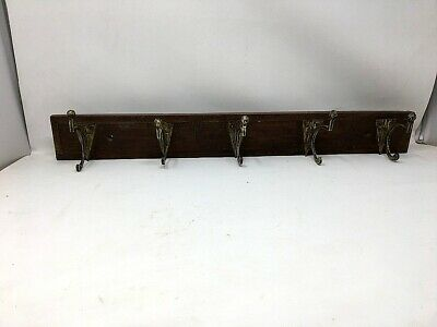 Antique Old Wooden Brass Coat Hanger Hook Wall Fix Tie Hanger 5 Hook Handcrafted