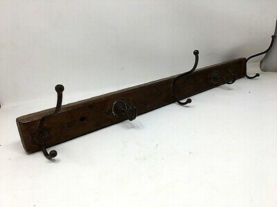 Antique Old Wooden Iron Coat Hanger Hook Wall Fix Tie Hanger 5 Hook Handcrafted